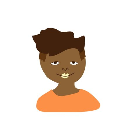 Vector portrait of a little boy in flat style. Illustration of a child of African race appearance by doodle.For child protection day.Design for coloring,packaging,web,children's games,cards,print.
