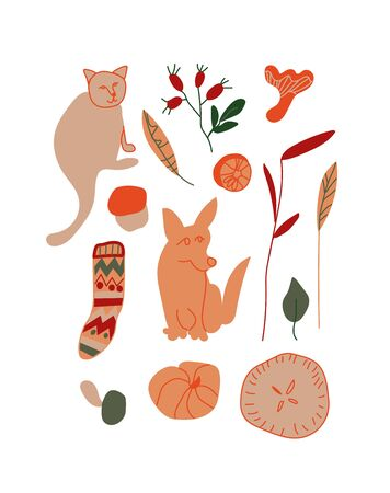 Vector autumn set.Illustrations with Corgi,cat,rosehips,wool sock,pie in orange,red and green in doodle style.Design for poster,social networks,web.