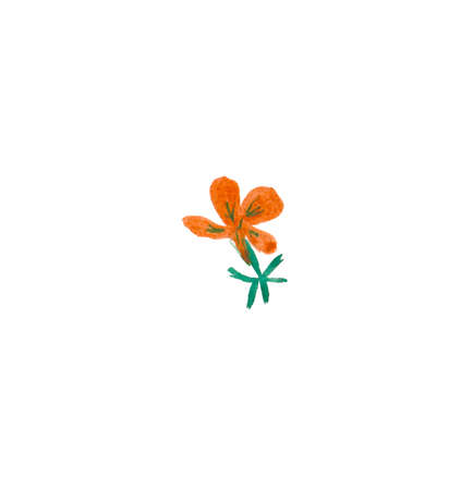 One watercolor red flower hand drawn. Spring flower illustration on a white isolated background. Design for stickers, cards, banners, posters, wrapping paper, wallpaper, packaging.