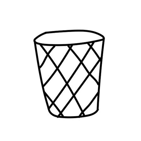 Vector single litter bin. Ecological illustration doodle black line on a white isolated background. Design for social media, web, cards, textiles, wrapping paper, packaging, prints, coloring.