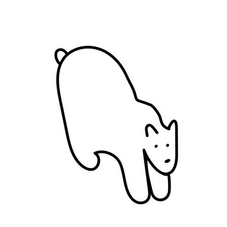 Vector single eco polar bear. Ecological illustration doodle black line on a white isolated background.Design for social media, web,cards,textiles,wrapping paper,packaging,prints,coloring. Illustration