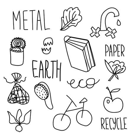 Set of vector ecology of elements. Lettering recycle,paper,metal,earth,eco,apple,metal can, lettuce sheet,egg shell,bicycle,radish, wooden brace,shower,paper,glass bottle,eco bag for fruits doodle.