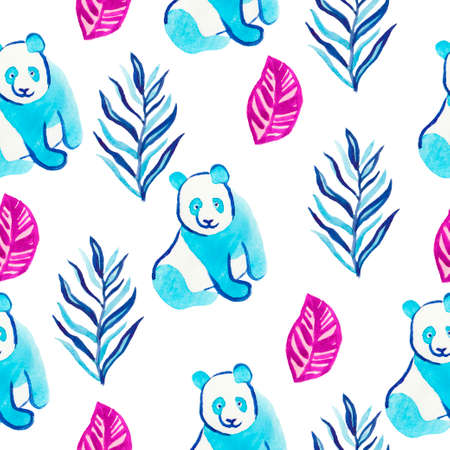 Watercolor seamless pattern with panda and tropical plants and butterfly. Print in classic blue, Color Aqua Menthe, purple in color on a white isolated background. Design for textiles, wall-paper.
