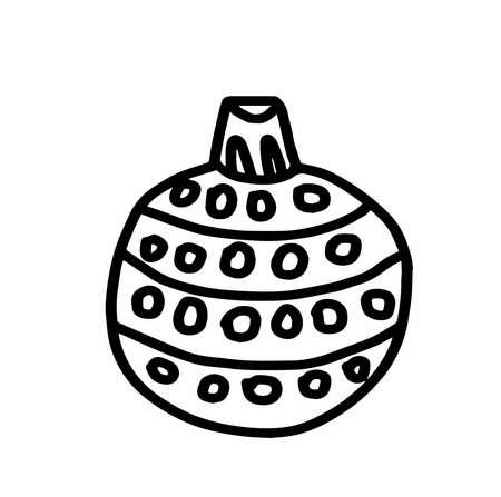 Christmas tree decoration.Scandinavian style.Doodle black sketch line illustration.Design for backgrounds, web and coloring.