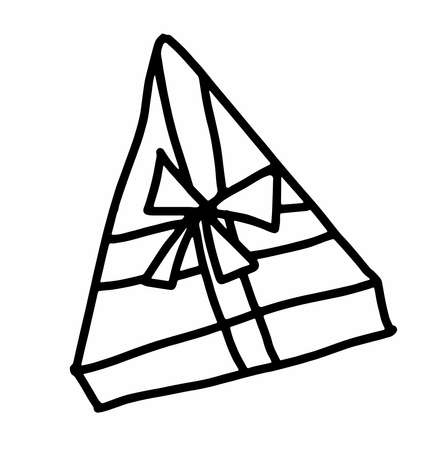 triangular box with gift.Scandinavian style.Doodle black sketch line illustration.Design for background, web and coloring.