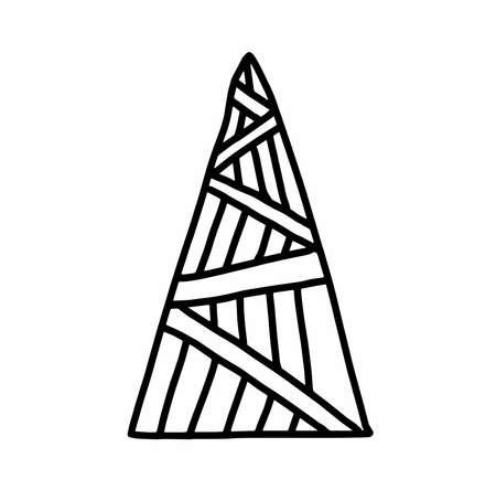 Christmas tree.Scandinavian style.Doodle black sketch line illustration.Design for backgrounds, web and coloring.