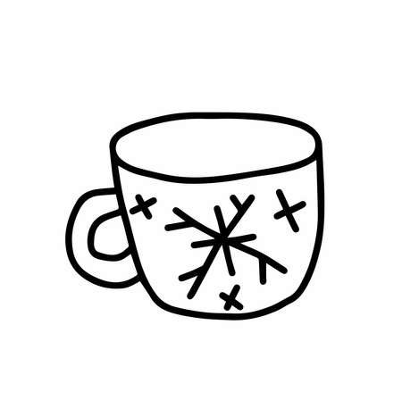 cup Scandinavian style.Doodle black sketch line illustration.Design for backgrounds, web and coloring.