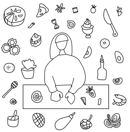 Vector set by a cooking girl. Clip art food illustrations with pie, cake, shrimp salad, bun, ravioli, spaghetti, fruit and vegetables, knife, olive oil, avocado.Design for menu, advertising and web.