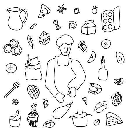 Vector set by a cooking boy. Clip art food illustrations with pie, cake, shrimp salad, bun, ravioli, spaghetti, fruit and vegetables, eggs, olive oil, avocado.Design for menu, advertising and web.