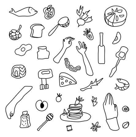 Vector set with hands and food. Clip art illustrations with pie,pancakes,wine,strawberries,honey,mixer,shrimp salad, bun, sushi,spaghetti,cheese,fruit and vegetables,olive oil,menu design.