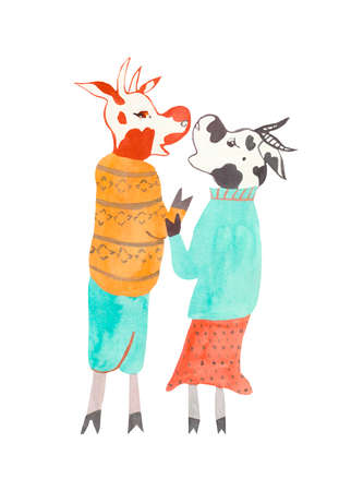 Christmas watercolor cows in sweaters. Festive and holiday illustration for the New Year on an isolated white background in orange, red and blue colors. Design for cards, banners, posters. Archivio Fotografico
