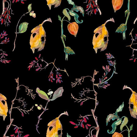 Watercolor autumn physalis, leaves, barberry in orange, yellow, green flowers seamless pattern. Botanical print illustrations on black isolated background. Design for textiles, wallpaper, wrapping paper.