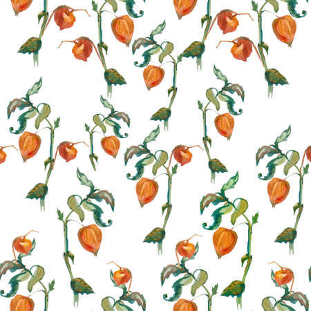 Watercolor autumn physalis, leaves, barberry in orange, yellow, green flowers seamless pattern. Botanical print illustrations on white isolated background. Design for textiles, wallpaper, wrapping paper.