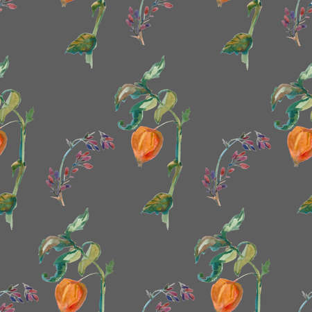 Watercolor autumn physalis, leaves, barberry in orange, yellow, green flowers seamless pattern. Botanical print illustrations on gray isolated background. Design for textiles, wallpaper, wrapping paper.