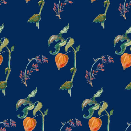 Watercolor autumn physalis, leaves, barberry in orange, yellow, green flowers seamless pattern. Botanical print illustrations on blue isolated background. Design for textiles, wallpaper, wrapping paper.