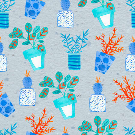 Watercolor seamless pattern with house plants in pots in Aqua Menthe and Phantom Blue, Lush Lava.Modern print on gray isolated background hand drawn. Design for wrapping paper, textile, wallpaper. Фото со стока