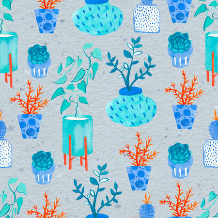 Seamless watercolor pattern with indoor plants. Home print in orange and blue on a gray insulated background. Design for textiles, wrapping paper, wallpaper, packaging.