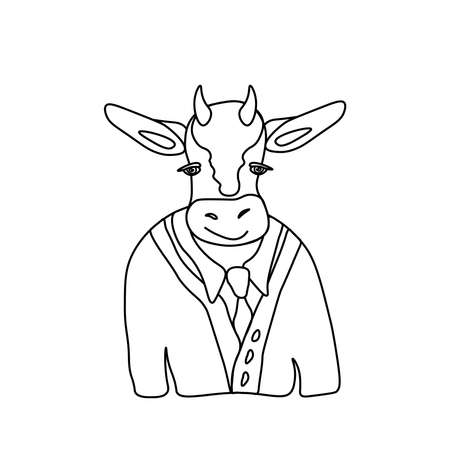 Vector illustration of a festive bull in doodle style.February picture of a bull symbol of the year 2021.Cow with black hand drawn line.Design for printing, calendar, coloring, cards, poster. Vettoriali