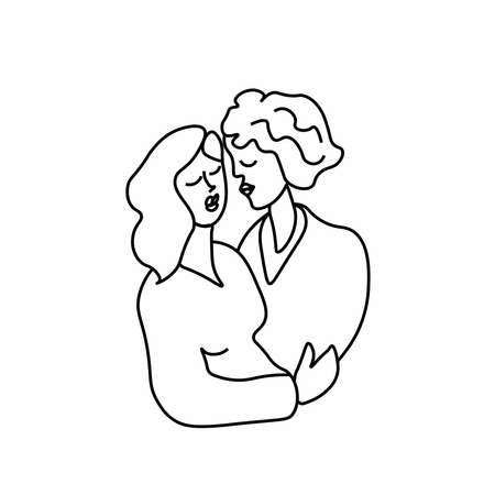 Vector illustration of a young man in love in doodle style. Lesbians kissing and hugging. Two girls on Valentine's Day black line. Design for cards, posters, articles, social networks.