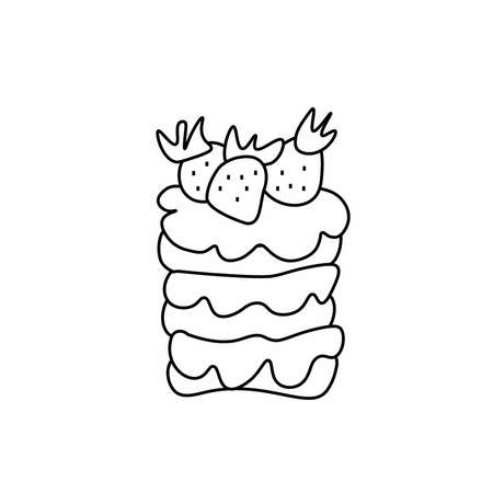 Vector dessert with cream and hand drawn strawberries.Romantic food illustration with cake.Baking in doodle style with black line.Design for menus, recipes, social networks, articles, packaging, card.