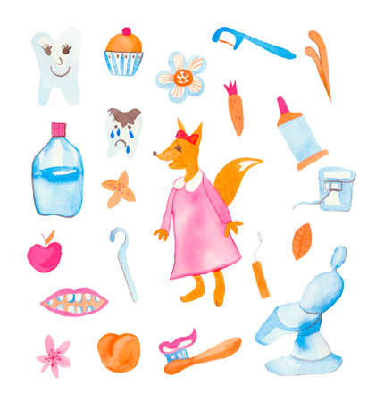 Set of watercolor children fox, teeth, rinser, toothpaste, flowers, cherry, dentist seat.Cute animal doctor on a white isolated background hand drawn.Design for cards, social networks, packages. Imagens