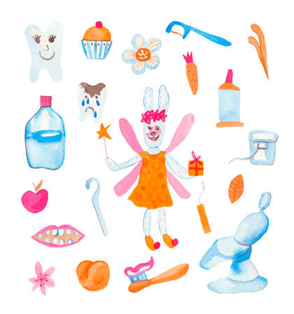 Set of watercolor children rabbit fairy, teeth, rinser, toothpaste, flowers, cherry, dentist seat.Cute animal doctor on a white isolated background hand drawn. Design for cards, social networks, packages.