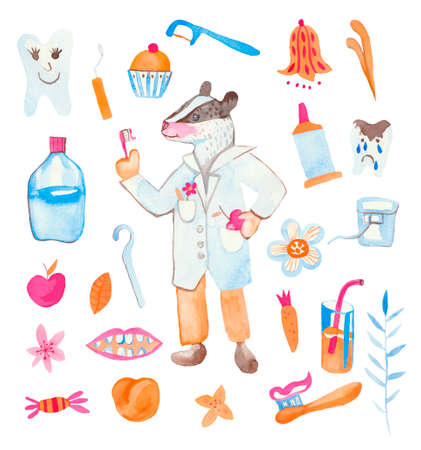 Set of watercolor children dentist badger, toothbrush, teeth, dental thread, lemonade, dessert, candy, flowers.Cute animal doctor on a white isolated background hand drawn. Design for cards, social networks.