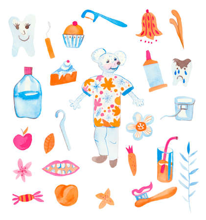 Set of watercolor children mouse nurse, toothbrush, teeth, dental thread, lemonade, dessert, candy, flowers.Cute animal doctor on a white isolated background hand drawn.Design for cards, social networks.