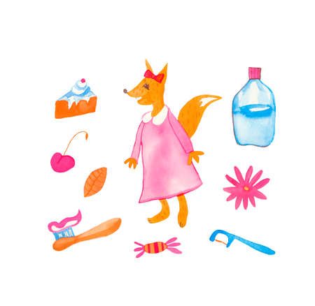 A watercolor set of cute children's dentist hand drawn.Clip art with fox, floss, brush, mouthwash, flowers, candy and cake on a white isolated background.Design for social networks, cards, banners. Imagens