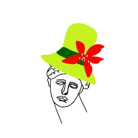 Vector illustration of Venus wearing a Christmas hat in hand drawn.Illustration of the New Year with a woman in doodle.Holiday picture of the ancient Greek god.Design for packaging, social networks.
