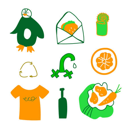 Set of ecological illustrations in green, orange.A collection of images for saving the planet for our children.Clip art with glass, penguin, tap, Tshirt, sandwich, bag, metal in doodle style.