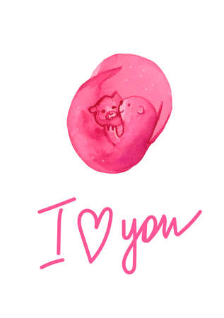 Watercolor card for Valentine's Day with pink animals.Love confession with cute otters with the inscription I love you on a white isolated background.Design for packaginginvitations, posters, T-shirts. Stock fotó