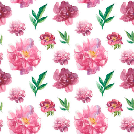 Watercolor seamless pattern with pink peonies and leaves.Floral, botanical, delicate print on white isolated background hand drawn.Design for wallpaper, textiles, packaging, invitations, wrapping paper.
