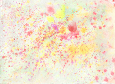 Watercolor pink and orange splashes on a white isolated background. Texture of colored water on paper. Small blotches and hand drawn stains. Designs for social media, web, packaging, wedding, poster.