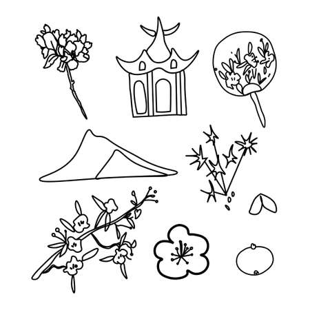 Vector set of illustrations for the Chinese New Year. Collection of images with pagoda, sakura, fan, fireworks, mandarin, mountain, fortune cookies. Designs for cards, packaging, social media, posters.