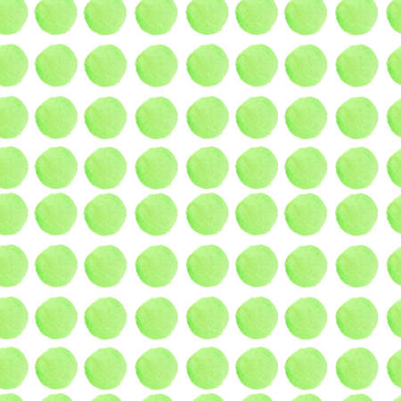 Watercolor abstract seamless pattern in on-trend colors.Static print with circles in green on white isolated background hand painted.Designs for textiles, social media, wrapping paper, fabric. Standard-Bild - 167150638