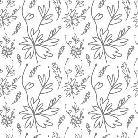 Seamless vector pattern with gray geraniums and oak leaves. Hand drawn print on white isolated background in doodle style. On-trend design for textiles, fabric, wrapping paper, packaging.