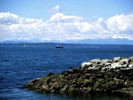 puget sound: View of the Puget Sound from Seattle, Washington Stock Photo