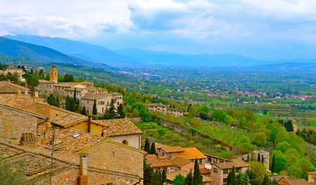 assisi: Hillside view of Assisi, Italy
