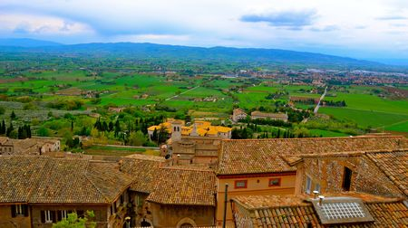 assisi: Rooftop view of Assisi, Italy and the surrounding countryside Stock Photo
