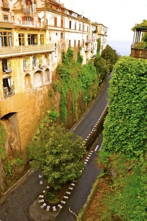 sorrento: A winding road along the Amalfi Coast near Sorrento, Italy Stock Photo