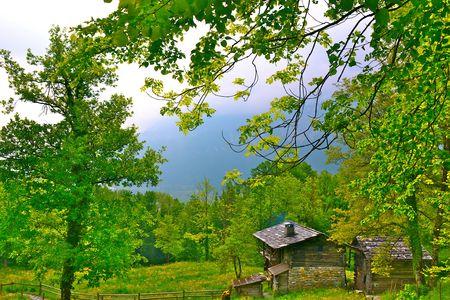 A preserved historic cabin in Ballenberg, Switzerland