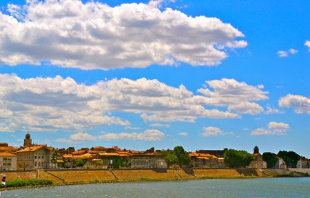 arles: River view of Arles, France Stock Photo