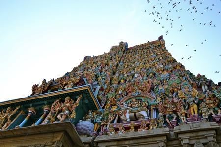 tamil nadu: Upwards view of a temple in Madurai, Tamil Nadu, India Stock Photo