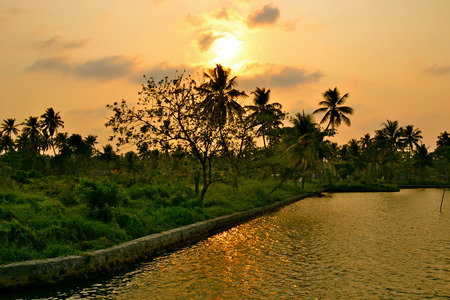 kerala: Sunset over a canal in Kerala, India
