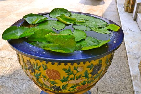 the grand palace: Lilly Pads in an ornate basin at the Grand Palace in Bangkok, Thailand