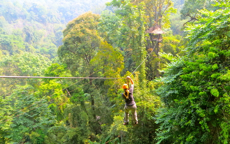 Zip lining through the jungle canopy outside of Chiang Mai, Thailand Imagens