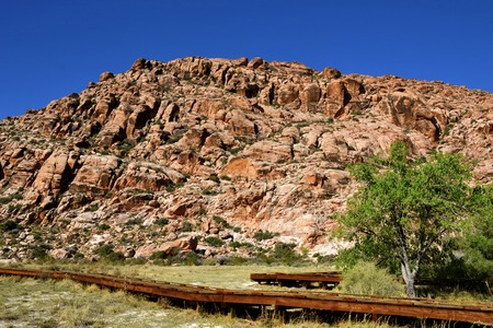 Hiking amongst the gorgeous rock formations of Red Rock Canyon National Conservation Area in Nevada Stock Photo