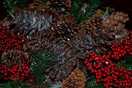 esthetic: These festive pine cone centerpieces at a Winter Wedding set the Christmas esthetic.