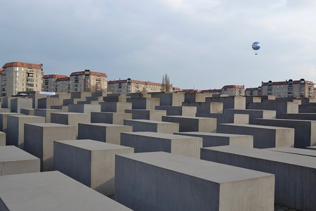 holocaust: A view above the stone monuments that form the emotional Holocaust Memorial in Berlin, Germany